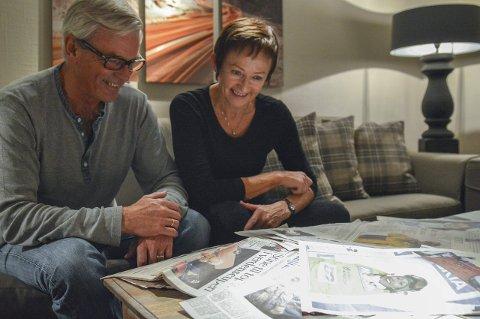 Minner: Vidar og Kari Brun Kjeldaas har klipt ut alt som var i avisene om barna Stine og Arild. De husker det som en fin, men nervepirrende tid.