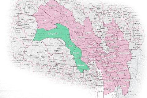 BETYDELIG: Kongsberg og Numedal utgjør en god del av kartet for Viken fylkeskommune anno 2020. Likevel er distriktet langt ned på lista over de mest folkerike områdene. Kongsberg som er størst i dalføret, er ikke engang på topp 10-lista blant Vikens (etter reformen) 50 kommuner.