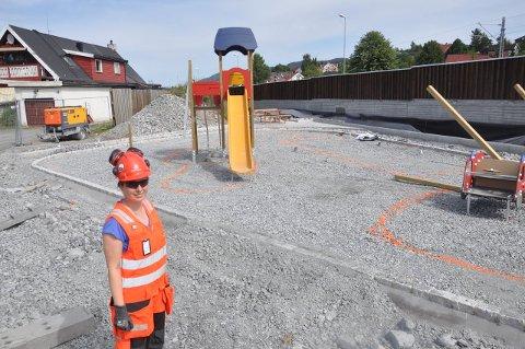 Her ved Landstadsgate anlegges lekeplass, med grønne innslag.