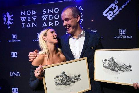 GODE VENNER: Silje Norendal og Stian Sivertzen, som her da de fikk hver sin pris på SnowboardAwards, har kjent hverandre i åresvis.