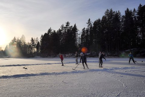 IDYLL: Lørdag viste Skapertjern seg fra sin fineste side vinterstid, og både barnefamilier og ishockeyspillere benyttet anledingen til å kose seg på isen i solskinnet.