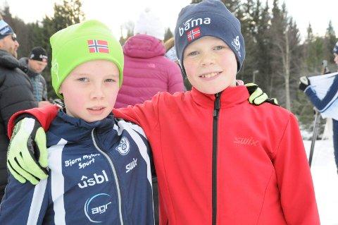 TRENINGSKAMERATER: Jørgen Nordhagen og Vetle Ree Trandum trener mye sammen i løypene på Martinsløkka. Denne helgen deltok de på Liatoppen skiskytterfestival, der Jørgen gikk i mål som førstemann i guttenes 12-årsklasse på søndag. Vetle gjorde også en solid innsats i samme årsklasse.