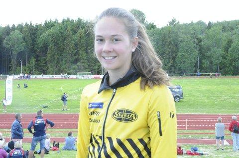 MORO MED MANGEKAMP: Ingrid Pernille Rismark trives godt med mangekamp, og deltar i alle øvelser hun kan være med på i ordinære friidrettstevner.
