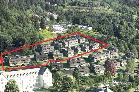 Opp i Lia: Byggetrinn to er boligene øverst i Lier Hageby-området. Boligene i trinn en – Erletunet – ligger lavere i terrenget og ved det som blir innkjøringen til boligfeltet. illustrasjon