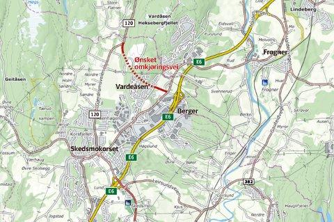TUNNEL: Tunnelen skal føre gjennomgangstrafikken bort fra Skedsmokorset.