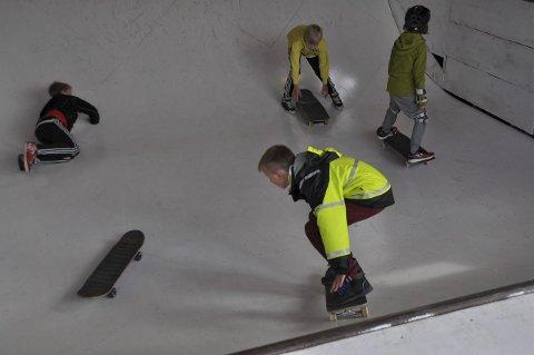 Koste seg: Den yngre garde så ut til å storkose seg i den nyrenoverte skatehallen.
