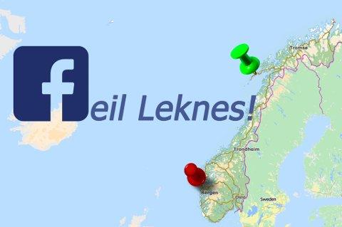 Facebook forveksler byen og regionsenteret Leknes med en gård i Sogn og Fjordane.