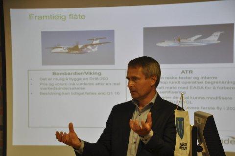 Nye fly: Administrerende direktør i Widerøe, Stein Nilsen, håper selskapet kan ta en avgjørelse om nye fly til kortbanenettet innen 1. mai 2017. Dette er ikke fly som er ferdigprodusert. – De må kraftig ombygges for å tilpasses kortbanenettet, sa Nilsen da han møtte ordførerne og næringsforeningene i flyplasskommunene i Lofoten. foto: MAGNAR JOHANSEN