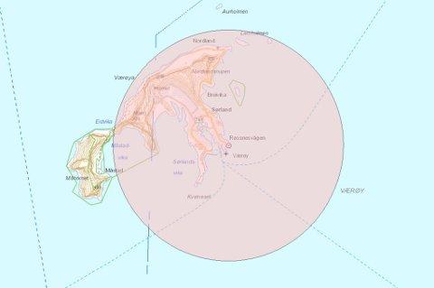 Med en femkilometerssone, vil store deler av Værøy bli berørt av forbudet.