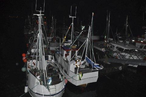 Mørkt for fiskere: Tilreisende fiskere syknes Vestvågøy kommune bør sørge for lys på flytekaia i ytre Stamsund.