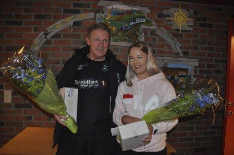 HEDRET: Kåre Stenbakk fikk prisen som Årets Ildsjel, mens Anja Rasmussen ble kåret til Årets unge idrettsutøver. Begge foto: Kai Nikolaisen
