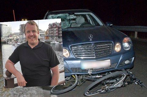 Maltraktert: Stein-Oves sykkel var totaltvrak etter sammenstøtet med bilen. På bildet ser man at Nikolaisen har sklidd over panseret før han traff frontruta og fløy over taken på bilen.  - Jeg tenker ofte på hvordan det kunne gått om det hadde vært en litt høyere bil, sier han.