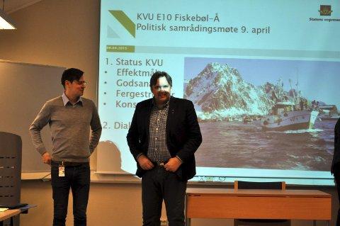 Kritisk: Høyres gruppeleder Jonny Finstad beklager at Vestvågøy ikke fulgte resten av Lofoten og fikk konseptet som innebar størst innkorting av E 10 i Lofoten. Her fra presentasjonen av Veipakke Lofoten. T.v. Nils Petter Rusånes fra Statens vegvesen.