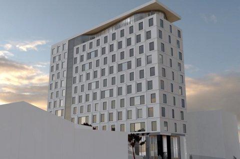 Nei: .... for høyt, sier Avinor. Dermed har Lofotr Hotell AS bedt arkitekten sette seg tilbake til tegnebrettet, og finne en løsning med en større grunnflate og syv etasjer.