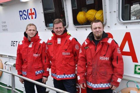 """Travel måned: Styrmann Pål Misje, skipper Glenn Pettersen og maskinsjef Gunnar Skåradal på """"Det Norske Veritas."""""""