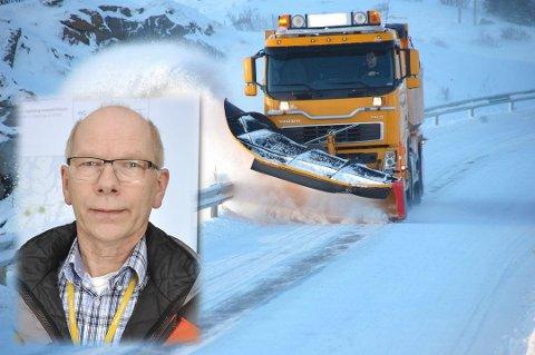 FORNUFT: Jon-Roger Sørvang i Statens vegvesen mener brøytepersonellet får urimelig behandling av sjåfører.  – Ta hensyn til brøytebilene. De står på for at veiene skal blir best mulig.