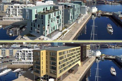 SKISSER: Den opprinnelige fasaden for det planlagte hotellet i Svolvær øverst, den nye fasaden under.