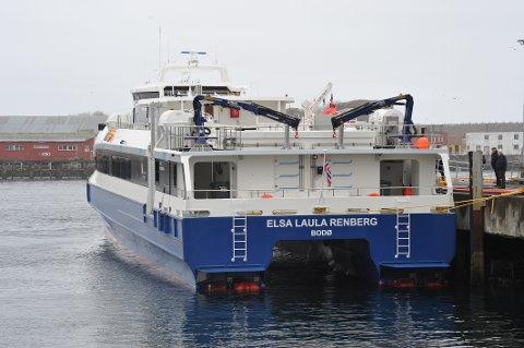 Den nye hurtigbåten «Elsa Laula Renberg» ved kai i Svolvær for første gang tirsdag 26. februar 2019 under prøveturen.