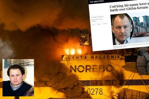 DRAMTISK BRANN I TROMSØ: Innfelt: Vitaly Orlov som ung mens han bodde i Norge og skjermbilde av artikkel i The Times.
