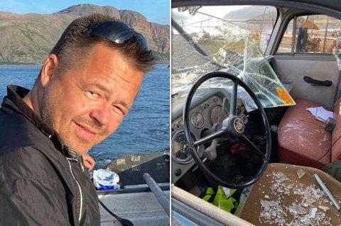 HÆRVERK: Noen har ramponert den 50 år gamle bilen, forteller Jørn Olaf Malinen.