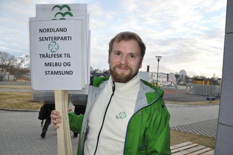 SENTRALISERING: Willfred Nordlund (Sp) var blant kritikerne av regjeringens melding om fiskekvoter. Her fra en demonstrasjon i 2018 mot at regjeringen ville fjerne pliktene trålerne har i forhold til landanlegg.