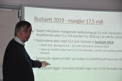 OVERFORBRUK: Overforbruket i Moskenes ble på 13,9 millioner kroner i 2019, rapportere kommunedirektør Steinar Sæterdal.
