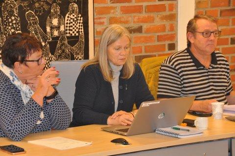 VANSKELIG SAK: Varaordfører i Vestvågøy, Anne Sand, (i midten) er bassengsaken vanskelig for Sp. Her sammen med partifelle Sten Angelsen og Aps gruppeleder Eva Karin Busch.
