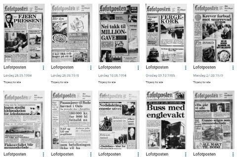 STORT ARKIV: På nasjonalbiblioteket.no kan du søke i alle utgivelsene til Lofotposten mellom 1896 og 2006. De siste 15 årene finner våre abonnenter tilgjengelig på Lofotposten.no.  Foto: Screenshot