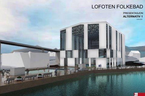 Slik kan et folkebad i  Svolvær se ut. Stein Hamre Arkitektkontor har skissert muligheten for en stor hall på tomta - i tråd med nabobedriftene. Inni denne ser man derimot for seg et stort badeland.