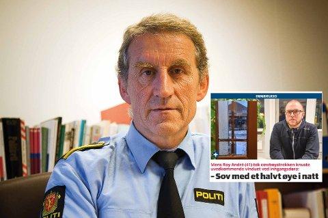 Lensmann Asbjørn Sjølie ved Vest-Lofoten lensmannskontor bekrefter at politiet har mottatt anmeldelse på skadeverk på en bolig i Storgata på Leknes.