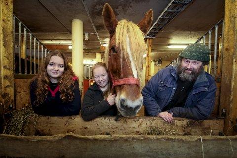 ROSES: Astrid Skjolden (fra venstre) og Frida Hammeren får skryt for innsatsen og innstillingen av en storfornøyd stallmester Jørgen Kvarme ved Tomb videregående skole. Hesten på bildet heter Dan.
