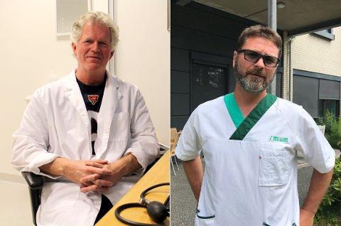 Fastlege Morten Dag Nilsen og Jens Lind-Larsen, fastlege og overlege på koronalegevakten, tar sammen ordet for at mossinger fortsatt må holde smittevernrådene.