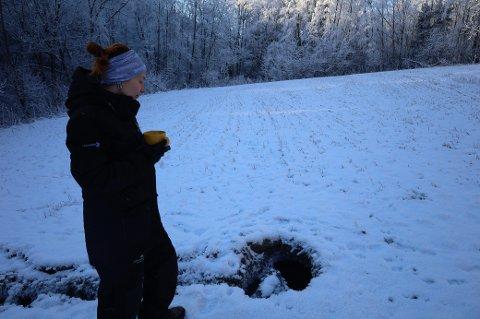 Langs Elveveien mellom Son og Hølen oppdaget Anine Nonshaugen et synkehull.