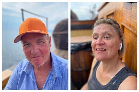 Mette Müller fra Trondheim er en av elleve synshemmede som har vært på pilegrimsferd den siste uka. Med seg hadde hun mannen Hans Jacob.