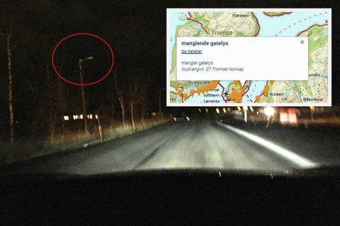 MØRKT: Mange gater har vært mørklagte i Tromsø de siste dagene. Foto: Leserbilde
