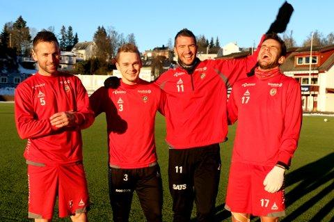 Disse fire TIL-spillerne har alle blitt pappa for første gang i løpet av 2015-sesongen. F.v. Morten Moldskred, Kent-Are Antonsen, Jonas Johansen og Remi Johansen.