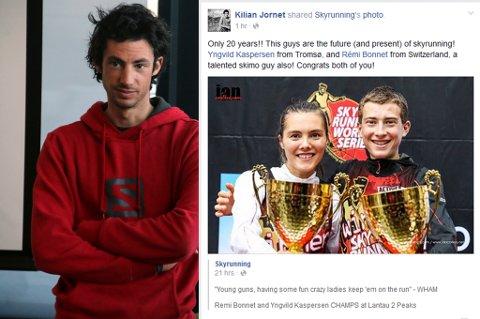 Verdensstjernen Kilian Jornet la ut denne meldingen til sine drøyt 538.000 følgere på Facebook etter Yngvild Kaspersens triumf i verdenscupen i Hong Kong.