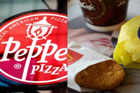 DÅRLIGST UT: Det er tre restaurantkjeder som kommer dårligst ut i undersøkelsen. Det er McDonalds, Peppes og Dolly Dimples. Foto: NTB Scanpix