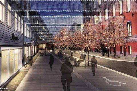 TRÆR OG BENKER: Det er store endirnger som er planlagt. I Storgata skal det plantes trær, settes opp benker og legges ny og bredere gangvei. Det skal også anlegges varmeanlegg i hele gågata og bygges nye sykkelveier. Illustrasjonsfoto: Tromsø Kommune/Dronninga Landskap