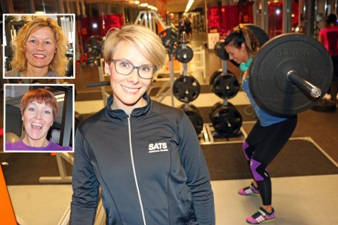 LIKER IKKE KROPPSFOKUSERT TRENING: Maren Kålheim, Hilde Anita Sandvoll (innfelt oppe) og Lill-Jorid Andreassen (innfelt nede) jobber daglig med trening i Tromsø. De mener for mange unge mennesker trener med kroppsfokus, ikke for egen helsevinnings skyld.