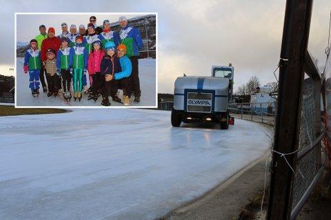 ISSTOPP? Tromsø Kommune vurderer å stenge kunstisbanen i Tromsdalen allerede etter årets sesong, på grunn av at anlegget er så slitt. Tromsø skøyteklubb og leder Geir Arne Førde (innfelt oppe t.h) er blitt vant til å leve med usikkerheten for hvert år.