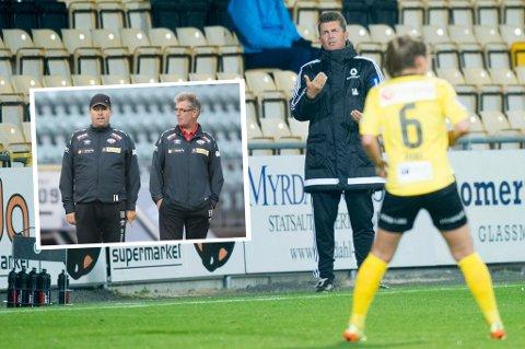 Frank Berntzen (t.h. innfelt) overtok Avaldsnes da Tom Nordlie forlot jobben som hovedtrener i 2015. Han var også aktuell for å lede laget videre, men de har i stedet gått for engelske Colin Bell - her på sidelinja mot Lillestrøm i Champions League.