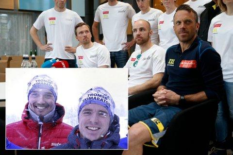 SESONGSTART: Andreas Nygaard (t.v innfelt) og Snorri Einarsson (t.h) er en del av Team Santander, med mer meritterte navn som Johan Olsson (f.v), Tord Asle Gjerdalen og Anders Aukland på laget.