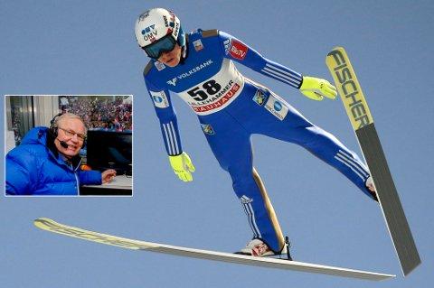 TROR PÅ FORFANG: Kommentatorlegende Arne Scheie (innfelt) har tro på Johann André Forfang foran den tysk-østerrikske hoppuka, som starter i romjula.