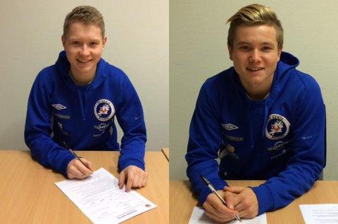 Tor Trosten (t.v.) og Sebastian Jensen har begge signert for FK Senja, etter at de nå går ut som juniorspillere i TIL.