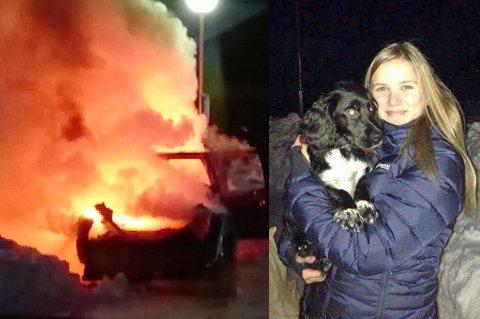 BERGET LADY: Helene (15) stormet til og fikk berget bestemors lille valp, Lady, fra å brenne inne i bilen. Foto: Kjetil Haug/privat