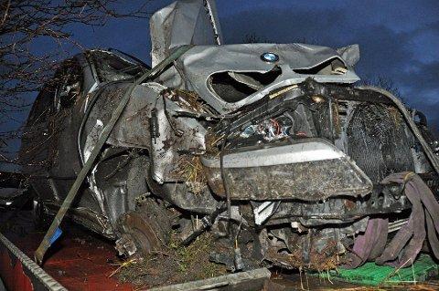 Bilen, en BMW, er ille tilredt. Foto: Lise Fagerbakk