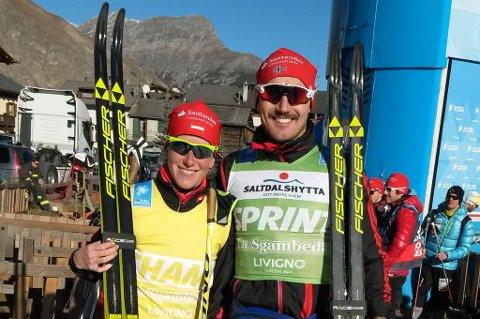 VANT TO SPURTER: Andreas Nygaard (t.h) tar med seg den grønne sprinttrøya hjem til Tromsø i jula. Lagvenninne Katerina Smutna (t.v) leder sammenlagt i kvinneklassen.