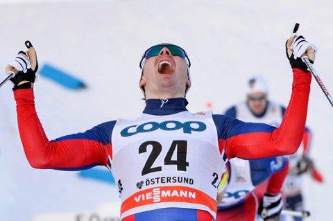 FALUN-FAVORITT? Finn Hågen Krogh jublet for dobbeltseier i verdenscuprennene i Östersund i helgen. Nå kan altagutten fort være en gullfavoritt på flere distanser i VM på ski i Falun, som starter denne uka.