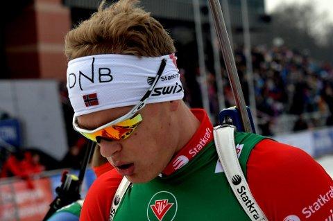 Fredrik Mack Rørvik under junior-VM i Hviterussland. Skiskytteren fra Målselv er ferdig med VM på grunn av sykdom.